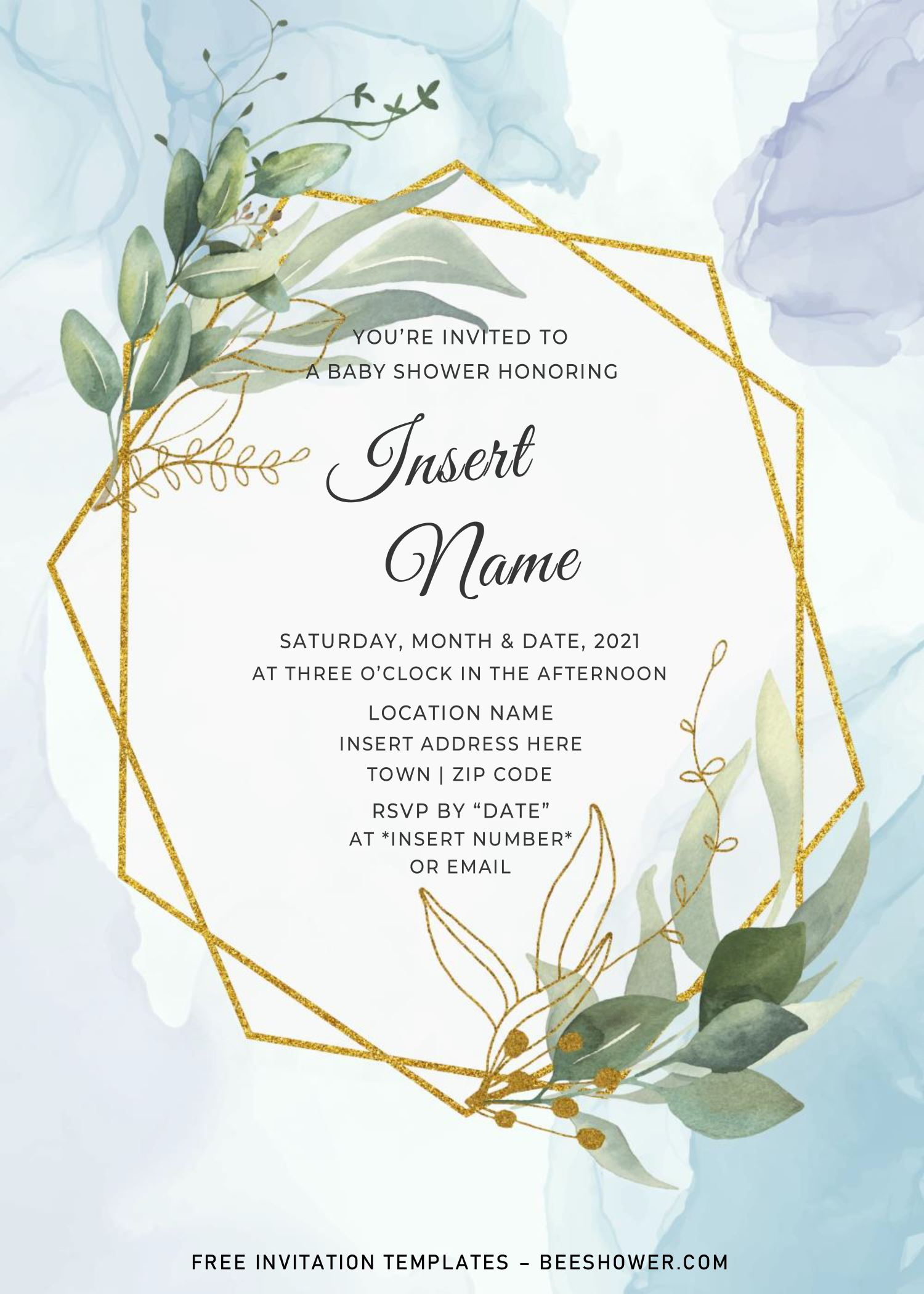 Free Gold Boho Baby Shower Invitation Templates For Word