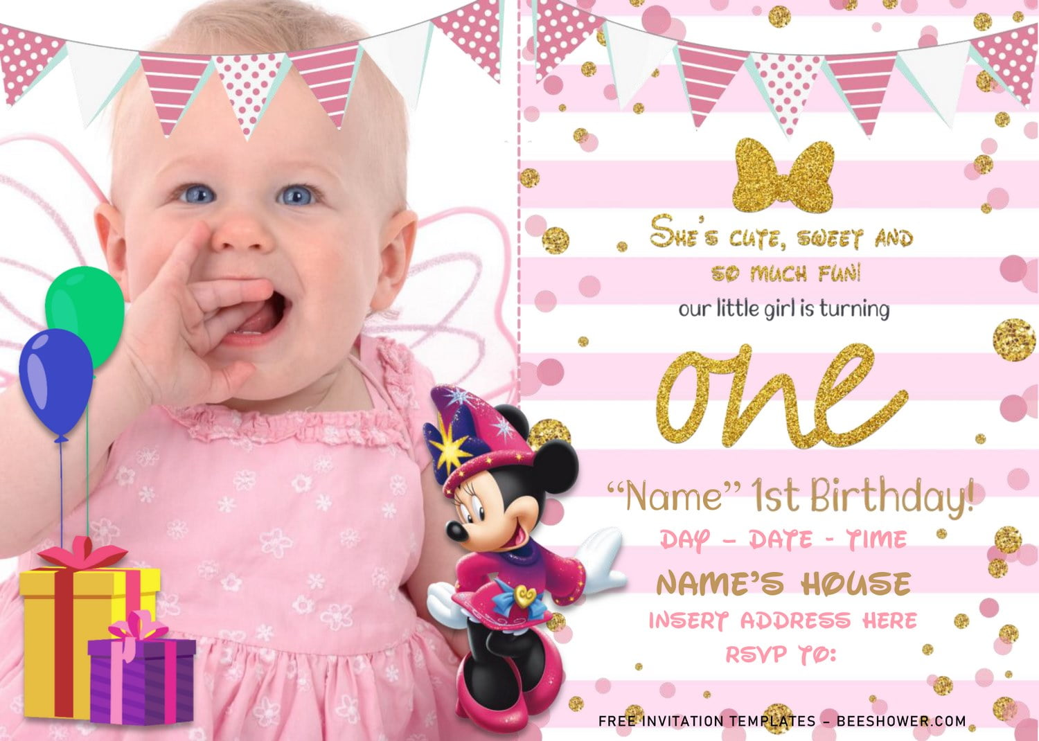 Free Pink And Gold Glitter Minnie Mouse Birthday Invitation Templates For Word