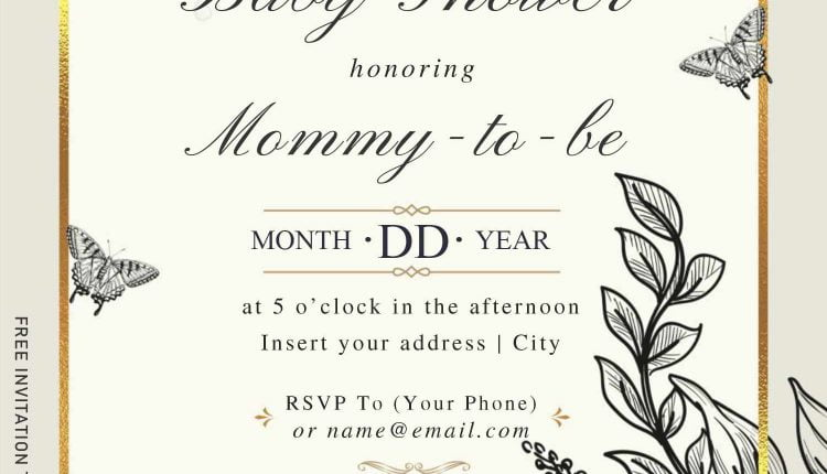 Free Stunning Pencil Floral Wedding Invitation Templates For Word