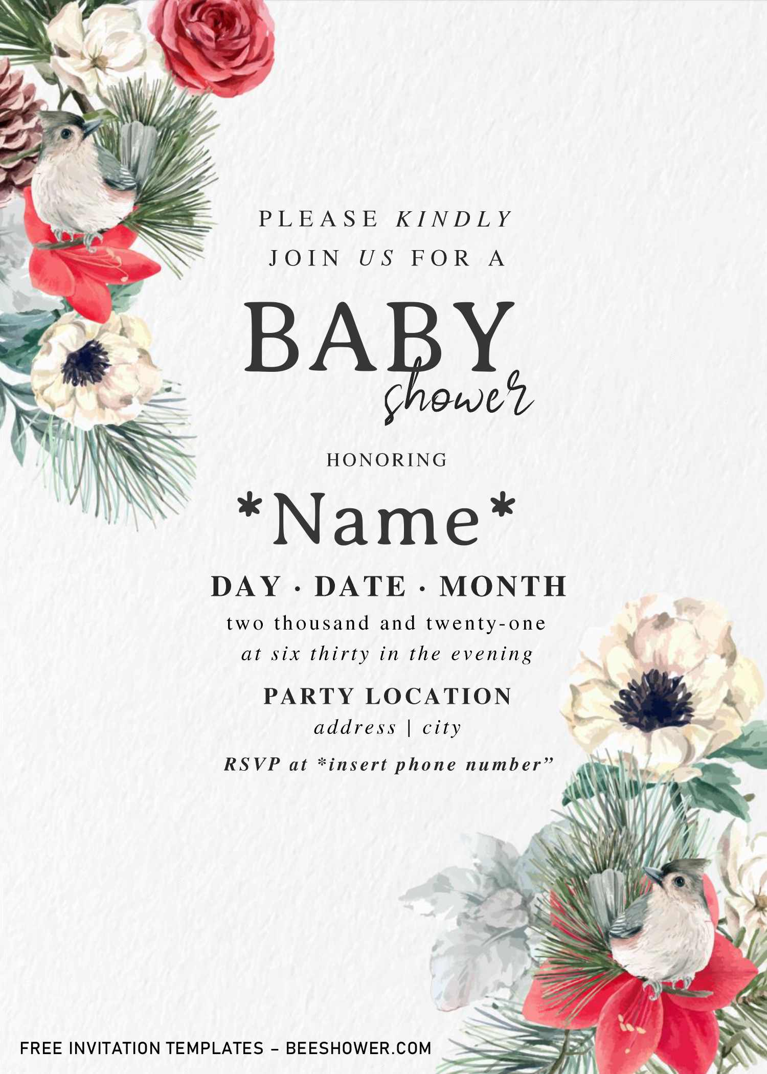 Watercolor Rose Baby Shower Invitation Templates For Word