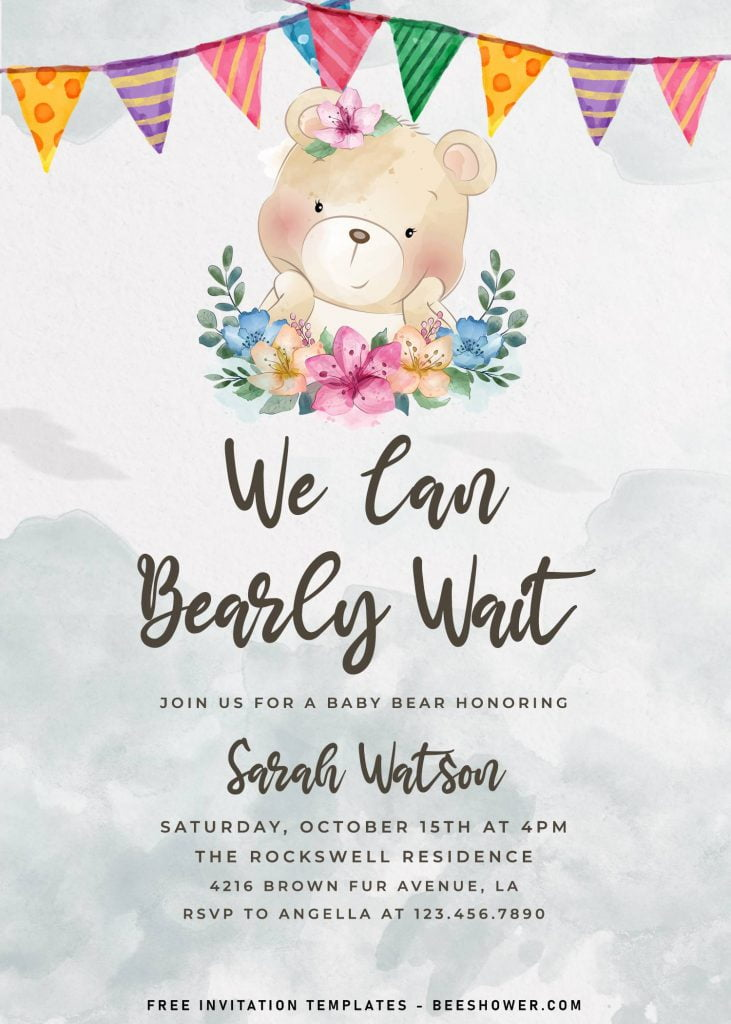 7+ Cute Baby Bear Baby Shower Invitation Templates