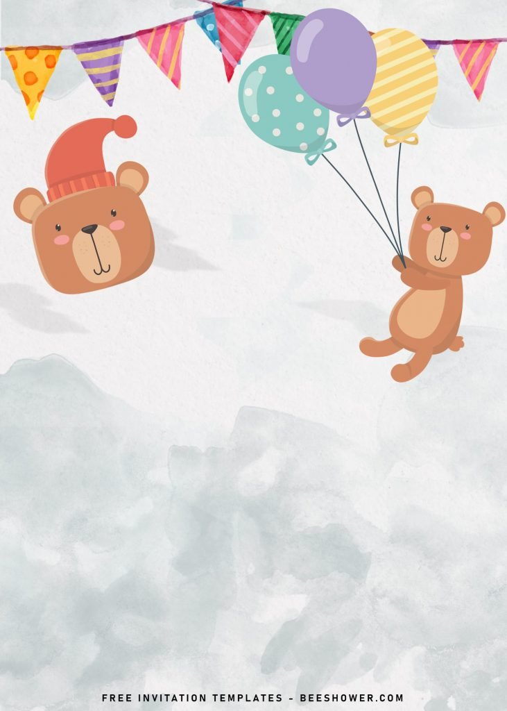 7+ Cute Baby Bear Baby Shower Invitation Templates and has cute teddy bear hold balloons