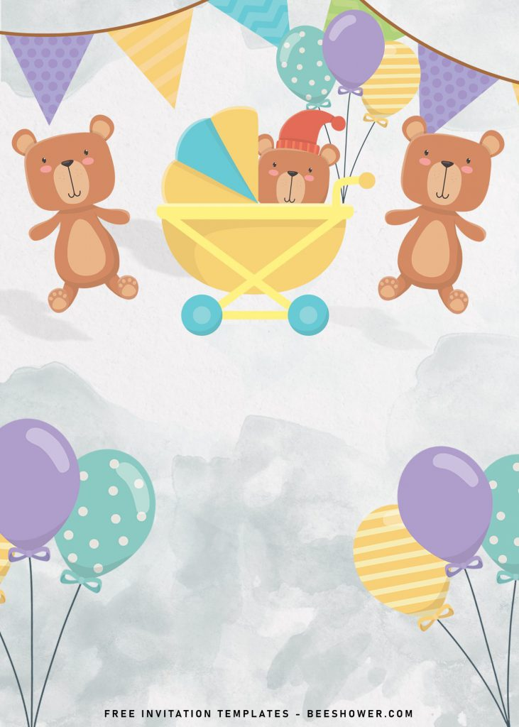 7+ Cute Baby Bear Baby Shower Invitation Templates and has adorable and colorful balloons