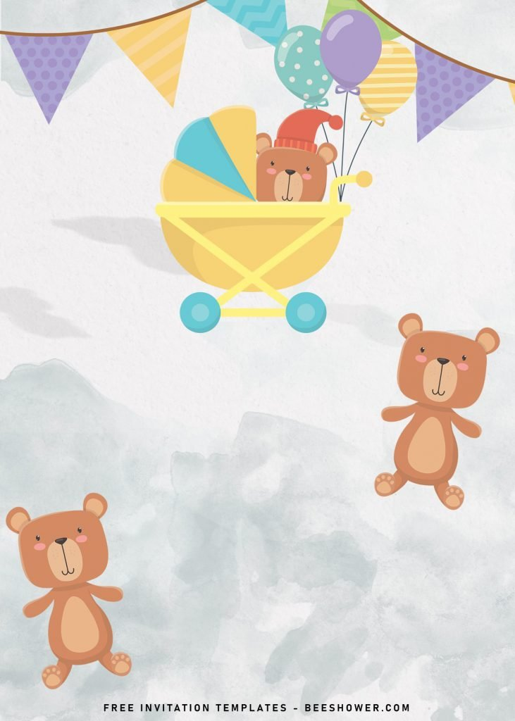 7+ Cute Baby Bear Baby Shower Invitation Templates and has adorable teddy bear with stroller
