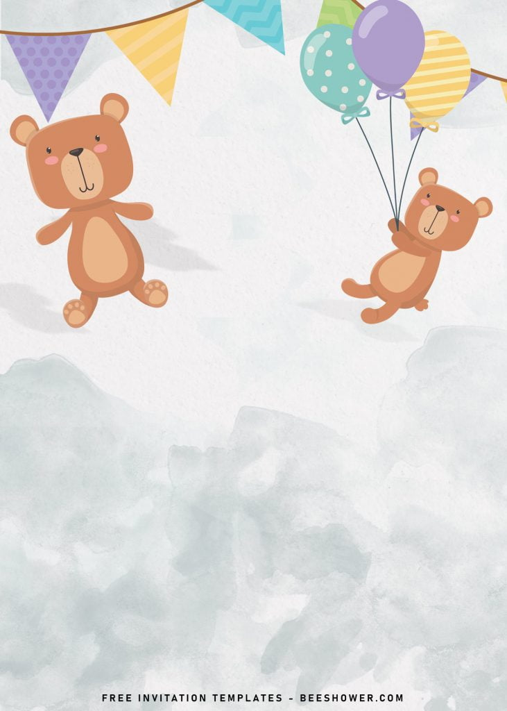 7+ Cute Baby Bear Baby Shower Invitation Templates and has party garland or bunting flags