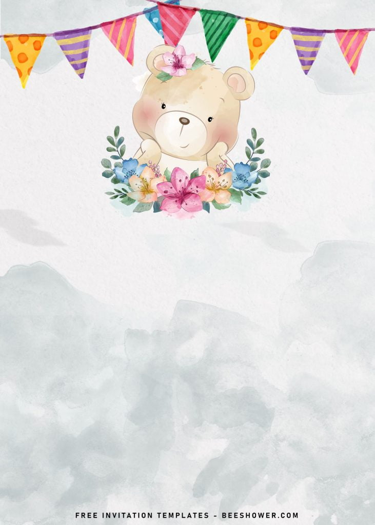 7+ Cute Baby Bear Baby Shower Invitation Templates and has teddy bear with watercolor flowers