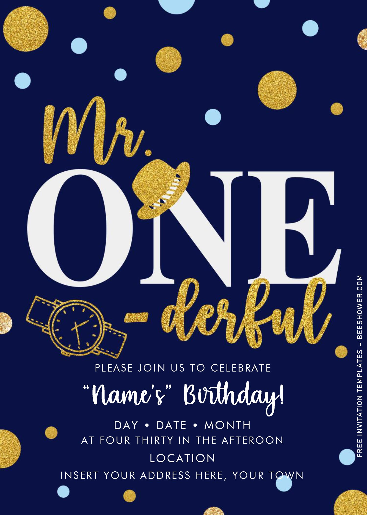 Free Mr. Onederful Birthday Invitation Templates For Word