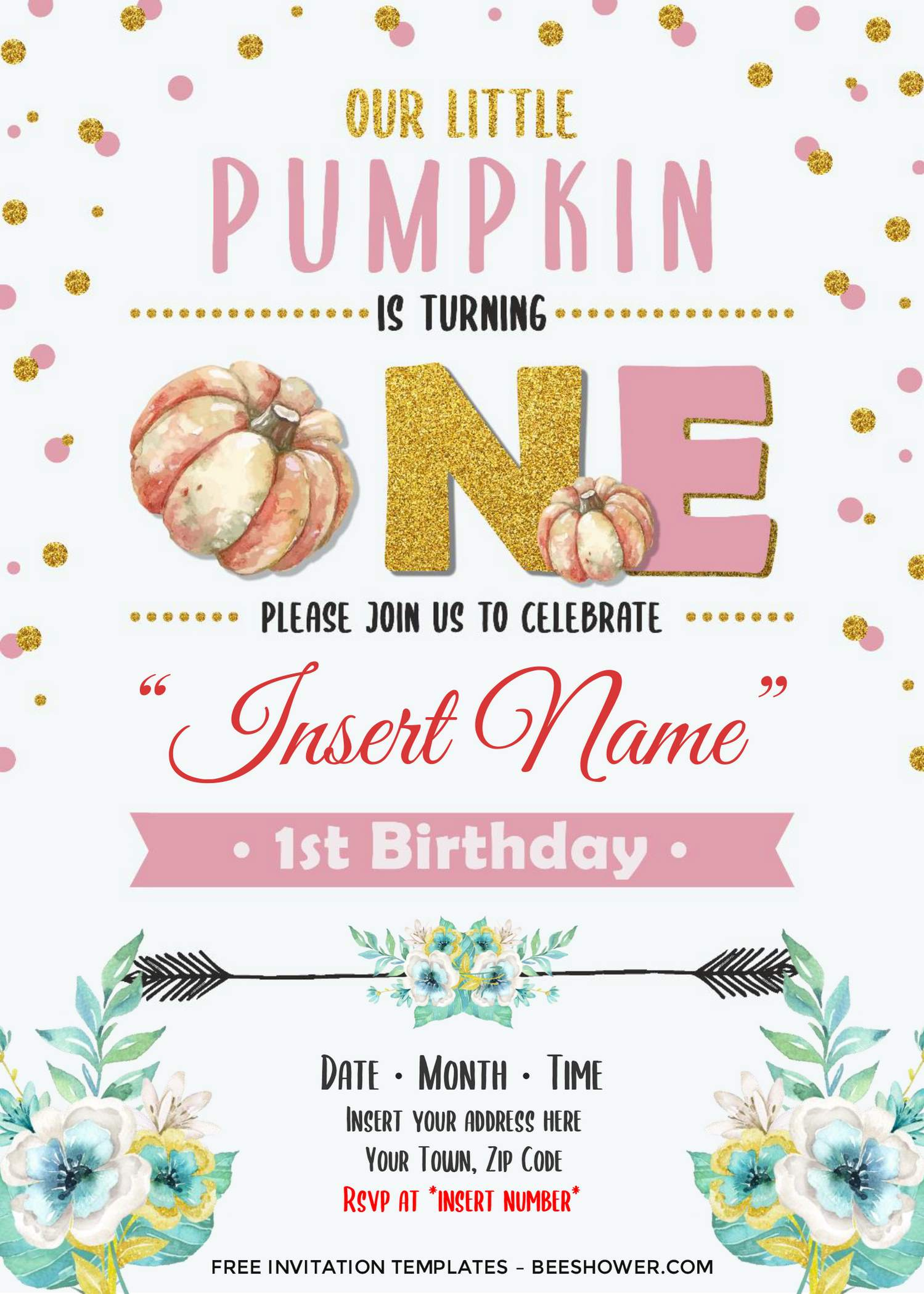 Free Watercolor Pumpkin First Birthday Invitation Templates For Word